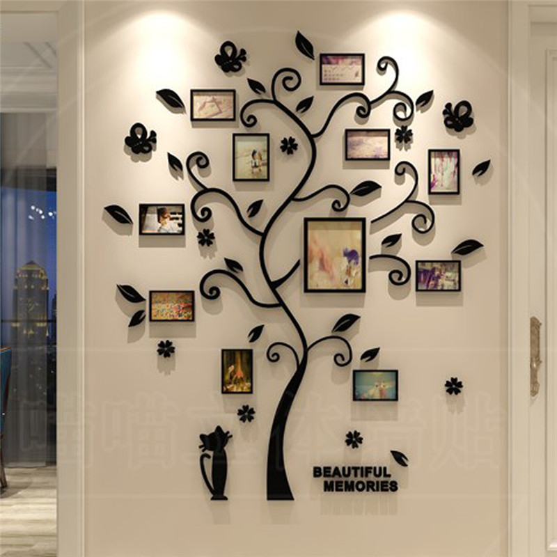 3D Tree Decal Sticker Acrylic Photo Album For Wall Sticker Tree Shape Decoration Stickers Home Decor Wall Poster Hanging