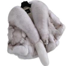 Real Fur Coat Women Blue Fox Fur Jacket