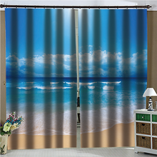 Landscape Blue sea sky beach Photo Printing Blackout 3D Curtains for Living Room Bedding Room Hotel Drapes Cortinas(China)
