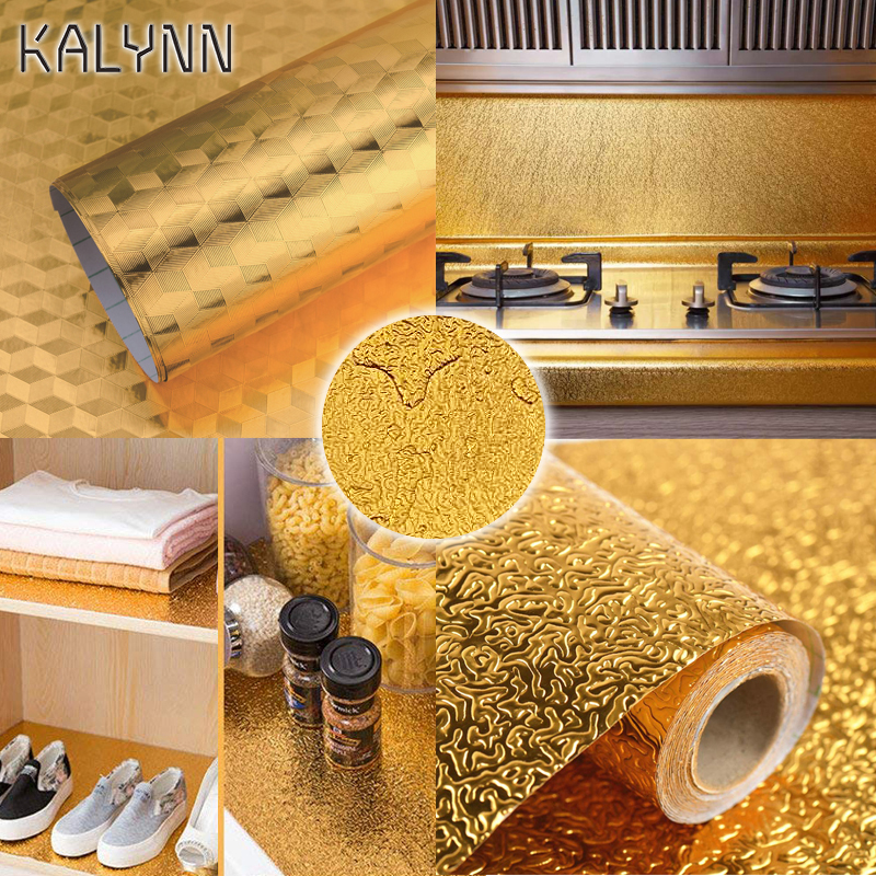 Golden Silver Kitchen Wallpaper Self Adhesive Kitchen Aluminum Foil Stickers Oil Proof Waterproof Drawer Sticker 23.62*118.11in