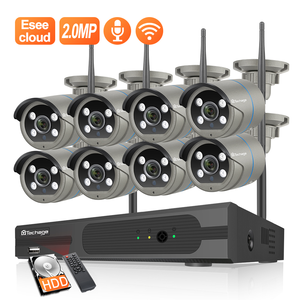Techage HD 1080P CCTV System 8ch Wireless NVR Kit 3TB HDD OutdoorTwo Way Audio IP Wifi Camera Security System Surveillance Set