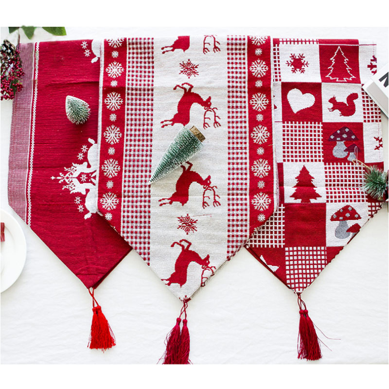 28x270cm Christmas Table Runners Table Decoration For Home Party Christmas Decora Table Flagtion Long Tablecloth Table Covers