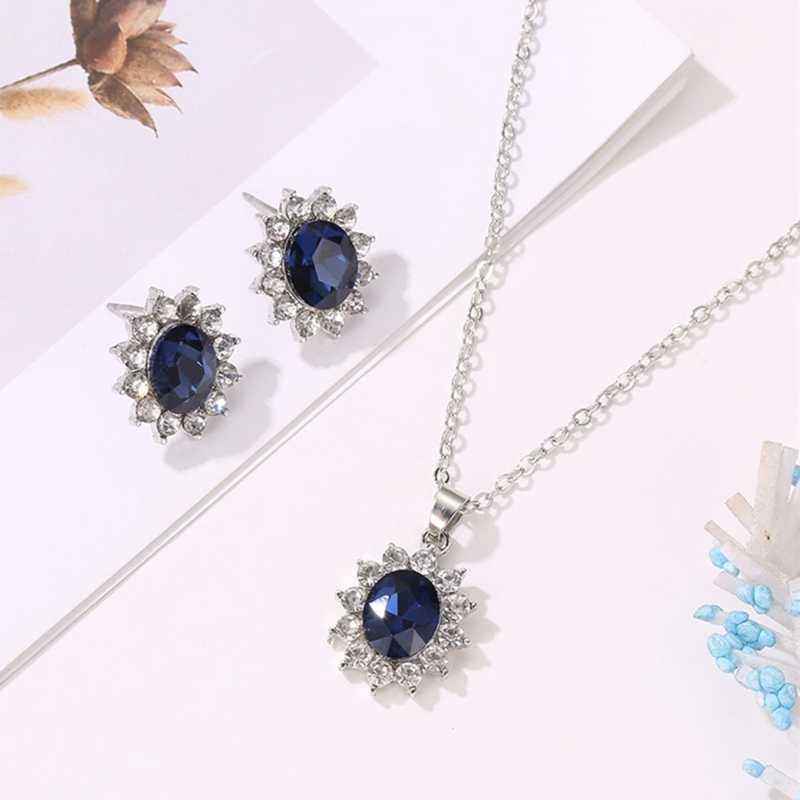 Neue Sonnenblumen Prinzessin Zirkon Zwei-stück Anzug Hochzeit Blauen Kristall Ohrringe Halskette Schmuck-Set Für Frauen Partei Schmuck