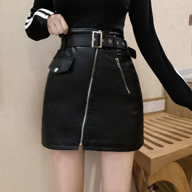 Ladie PU A-Line Skirts Casual Sashes Above Knee Zipper Fashion Women Skirts Vintage High Waist Solid Mini Female Spring Skirts