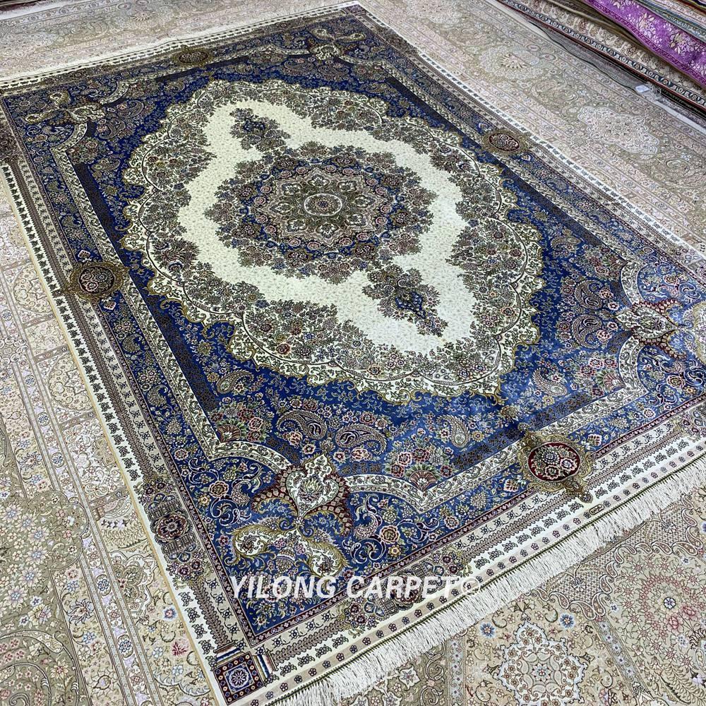 Yilong 6'x9 'karpet sutera Turki poket tradisional sutera tangan - Tekstil rumah - Foto 2
