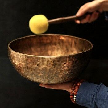 Кованая поющая чаша (STRUGGLINGSNAIL/латунь/10-30 см) ручной работы + 2 колотушки + подушка
