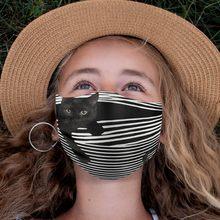 Máscara facial para niños, Mascarilla con estampado divertido de gato negro, protector solar, protección facial transpirable, a prueba de viento, 1 ud.