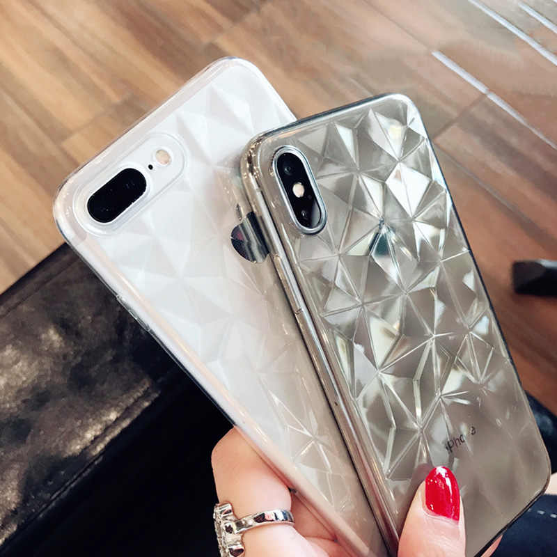 N1986N funda para teléfono para iPhone 11 Pro Max X XR XS Max 6 6s 7 8 Plus lujosa textura de diamante funda transparente ultrafina suave de TPU