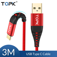 TOPK USB Type C Cable 3m for Samsung S9 S8 USB C Mobile Phone Fast Charging Type C Cable for Oneplus 6t Xiaomi Redmi note 7 Mi 9 usb type c cable for samsung galaxy s9 s8 plus fast charging data cable for oneplus 6t huawei mobile phone charger usb c cables