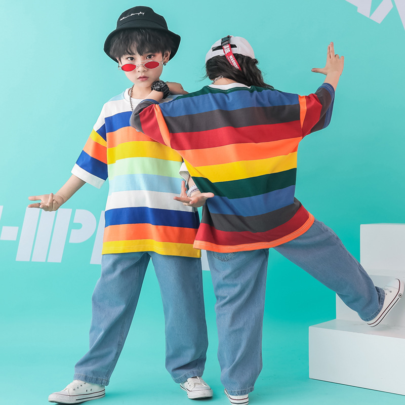 Summer Child Hip Hop Clothing Casual Pants Striped Oversized T Shirt Tops For Girls Boys Dance Costume Ballroom Dancing Clothes