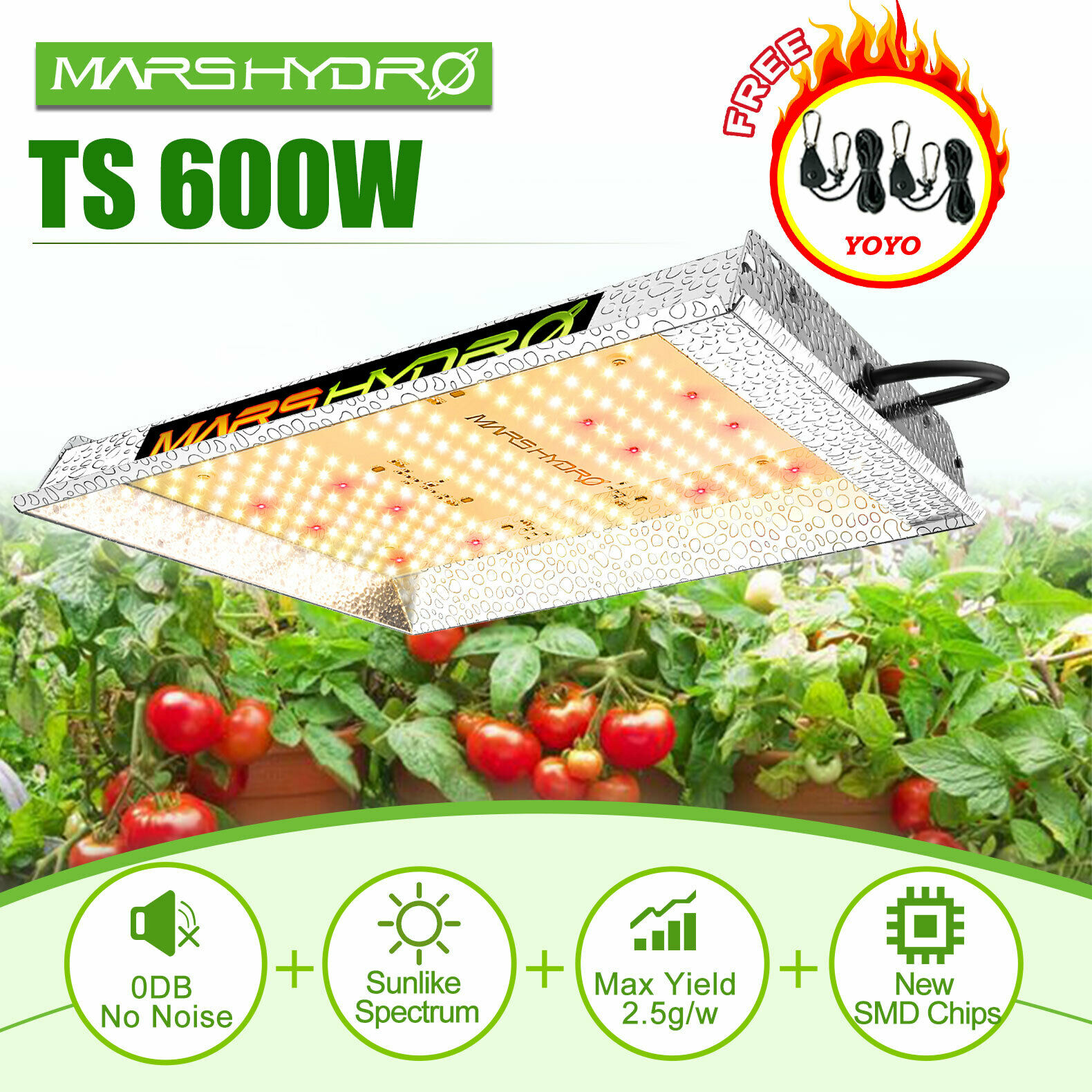 Mars Hydro TS 600W LED Grow Light Sunlike Full Spectrum Indoor Hydroponic Plants