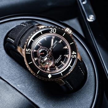 Reef Tiger/RT Dive Sport Watches Men 200m Waterproof Watch Black Leather Strap Super Luminous RGA3039-PBBC - discount item  47% OFF Men's Watches