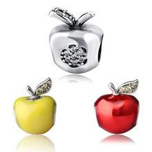new arrival yellow Red Enamel Apple Beads  Fit Pandora Orignal Bracelet Bangle Authentic 925 Sterling Silver Bead Charms gift цены онлайн