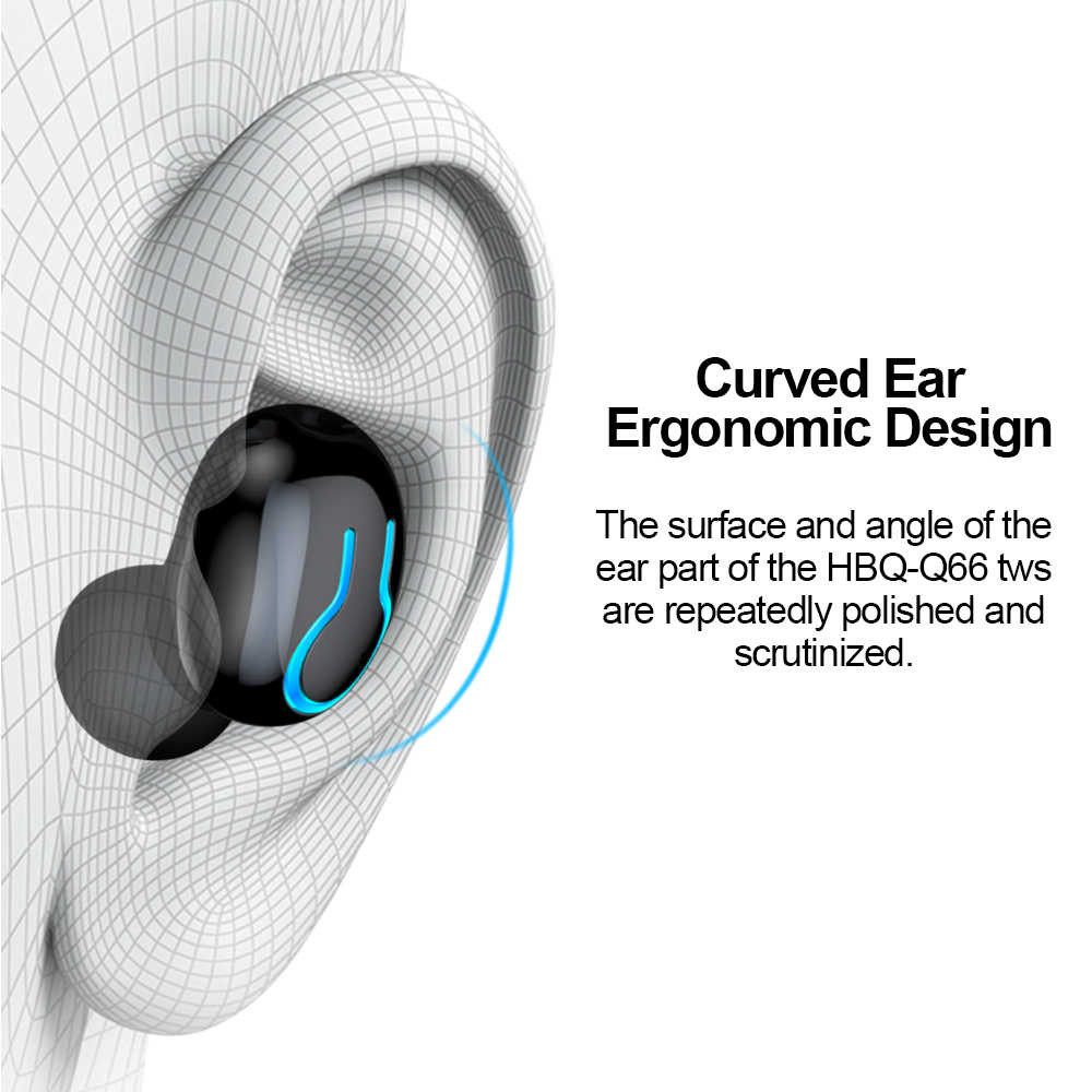Q66 kablosuz V5.0 Bluetooth kulaklık HD stereo kulaklık spor su geçirmez kulaklık ile çift mikrofon ve 6000mAh pil şarj