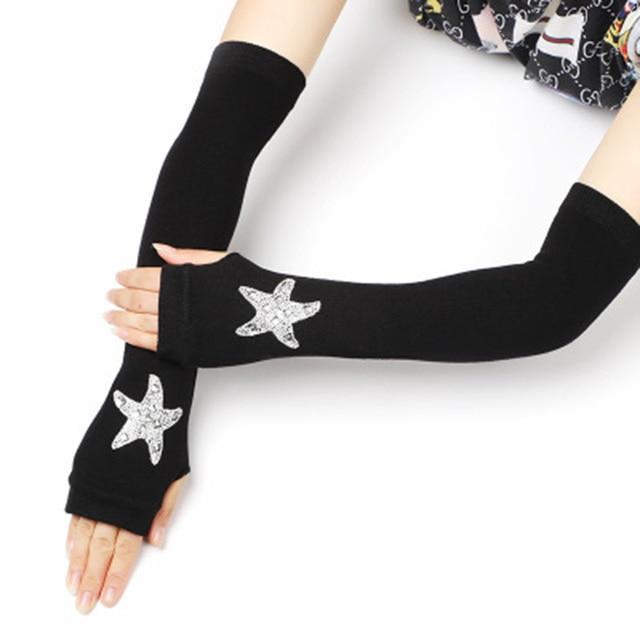 Female Black half finger Long Knitted Warm Driving Mittens Female Cute Fox Sailor Elasticity Dance Rhinestone Punk Gloves H37 4