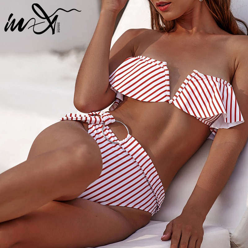 In-X Bandeau High Waist Bikini Set Striped Swimsuit With Ruffle Sexy Knot Swimwear Women Summer Bathers Vintage Bating Suit New
