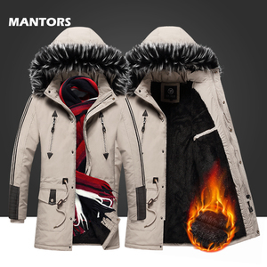 Image 1 - 2019 Mannen Winter Parka Bontkraag Lange Jassen Fleece Warm Overjassen Toevallige mannen Dikke Windjack Slim Fit Capuchon jassen