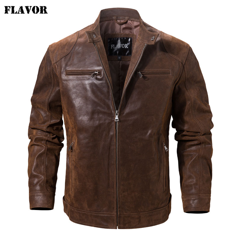 Men's Pigskin Real Leather Jacket Motorcycle Jacket Coat Men