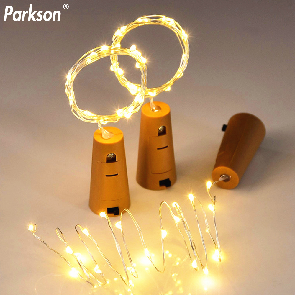 RGB LED String Lights 2M Copper Wire Cork Shaped Stopper Flasher Fairy Lamps Led Color Light Strip Party Christmas Decoration