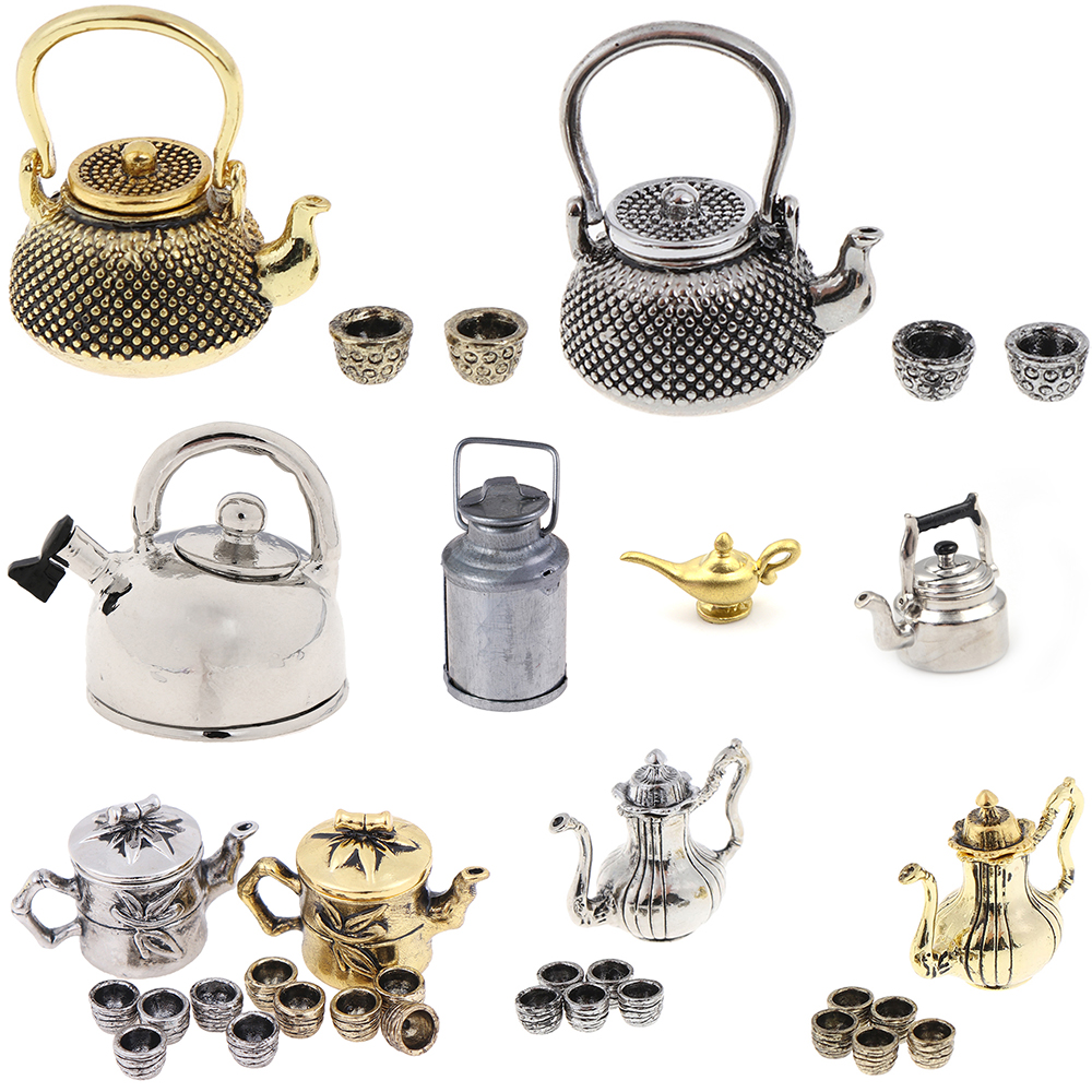 Hot Sale Tea Set Teapot Cup Kettle 1: 12 Dollhouse Furniture Miniature Dining Ware Kitchen DIY Toy