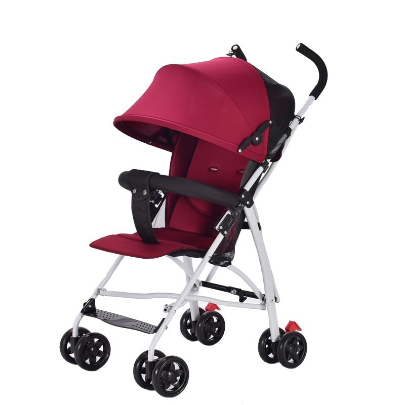 Baby Four-wheel Stroller Baby Umbrella Car Lightly Foldable Baby Stroller 3.6 KG Portable Baby Stroller with Cotton Pad Baby Bag