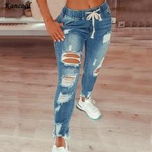 Muyogrt kobiety moda Hip Hop zniszczenia dziury dżinsy sznurkiem zgrywanie ołówek spodnie kobiety Plus rozmiar ołówkowe spodnie o pełnej długości tanie tanio Poliester CN (pochodzenie) Osób w wieku 18-35 lat Zmiękczania Sznurek HOLE Lace up skinny Medium W trudnej sytuacji women long pants