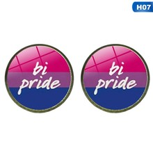 Gay Earring Bi Pride Stud Earring Jewelry Hypoallwergenic Ear Nail Gay Pride Glass Cabochon Earrings Luxury(China)