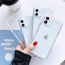 Shockproof Permen Warna untuk Iphone 11 Pro Max 7 8 Plus X XS Max XR SE 2020 Clear lembut TPU Bumper Back Cover Coque Capa(China)
