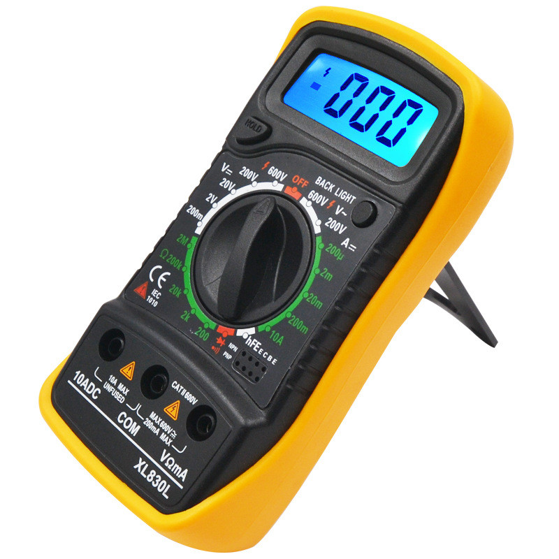 XL830L Mini Multimeter LCD Digital Multimetro Volt Amp Ohm Tester Meter Voltmeter Ammeter Backlight Overload Protect With Probe