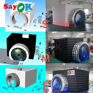 Image 3 - Yeni stil kamera şekli şişme fotoğraf kabini şişme çadır düğün Booth düğün reklam için parti olay (1 ücretsiz Logo)