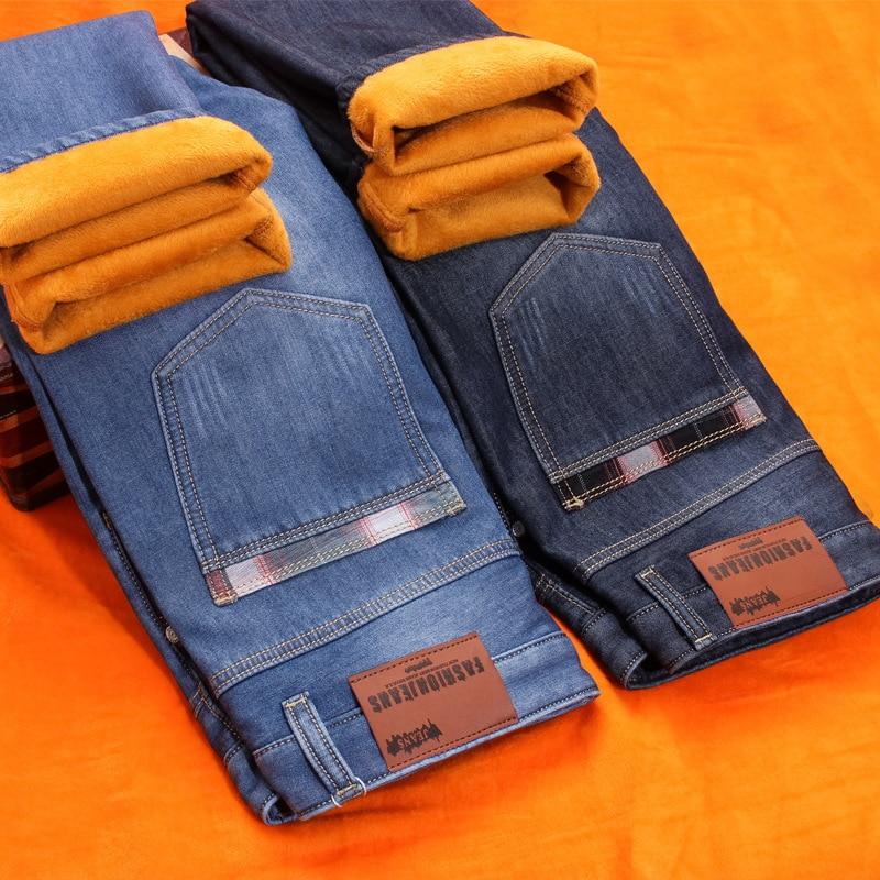 Autumn And Winter Men Plus Velvet Jeans MEN'S Trousers Plus Velvet Thick Straight-Cut Men'S Wear Loose Medium Waist Youth Trouse