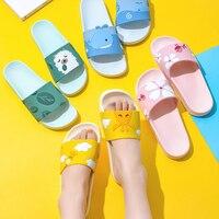 Dessin animé licorne mignon Animal fruits femmes maison pantoufles d'été sandales dames diapositives intérieur maison chaussures tongs Sandalias Mujer