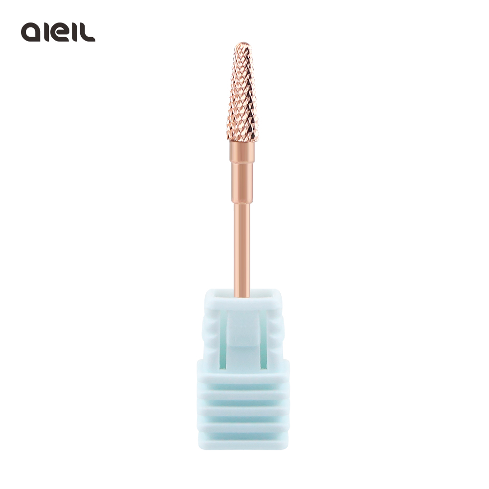 Rose Gold Coating Tungsten Carbide Rotary Burr Nail Drill Bits  Electric Cutter For Manicure Machine Nail Drill Accessories Tool