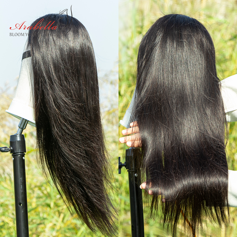 Hair Straight Lace Closure Wig With Baby Hair 100%  Wigs Pre Plcuked Bleached Knots Arabella  Lace Wigs 2