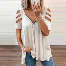 Women Sexy Vintage V-Neck Zipper Blouse Shirt Fashion Summer Elegant Solid Tops Ladies Casual Loose T-shirt Clothes Blusa