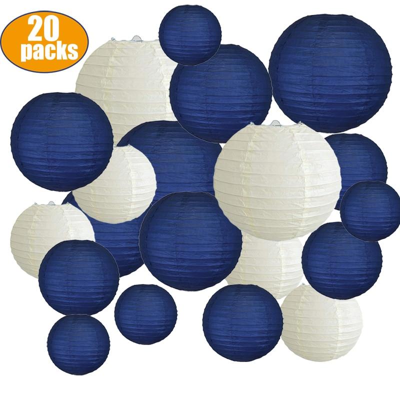 20 шт., бумажные фонарики размером 6-12 дюймов темно-синего и бежевого цвета, китайские бумажные фонарики для свадьбы, рождественские мероприя...