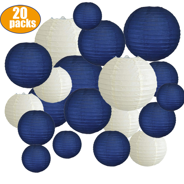 """20 pcs 6"""" 12"""" Paper Lanterns Assort with Size Navy Blue Beige Chinese Paper Lantern lampion for Wedding Christmas Event Party"""