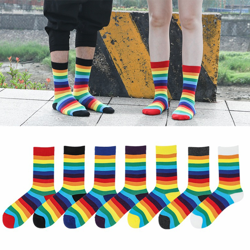 Striped Crew Socks Long Colorful Women Spring Autumn Female Leisure Comfortable Rainbow Socks Ladies Tube Socks Chaussette
