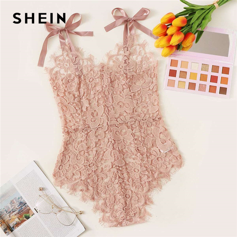 SHEIN Pink Guipure Lace Tie Shoulder Teddy Bodysuit Women Nightwear Spring Solid Sleeveless Sexy Lingerie Bodysuits