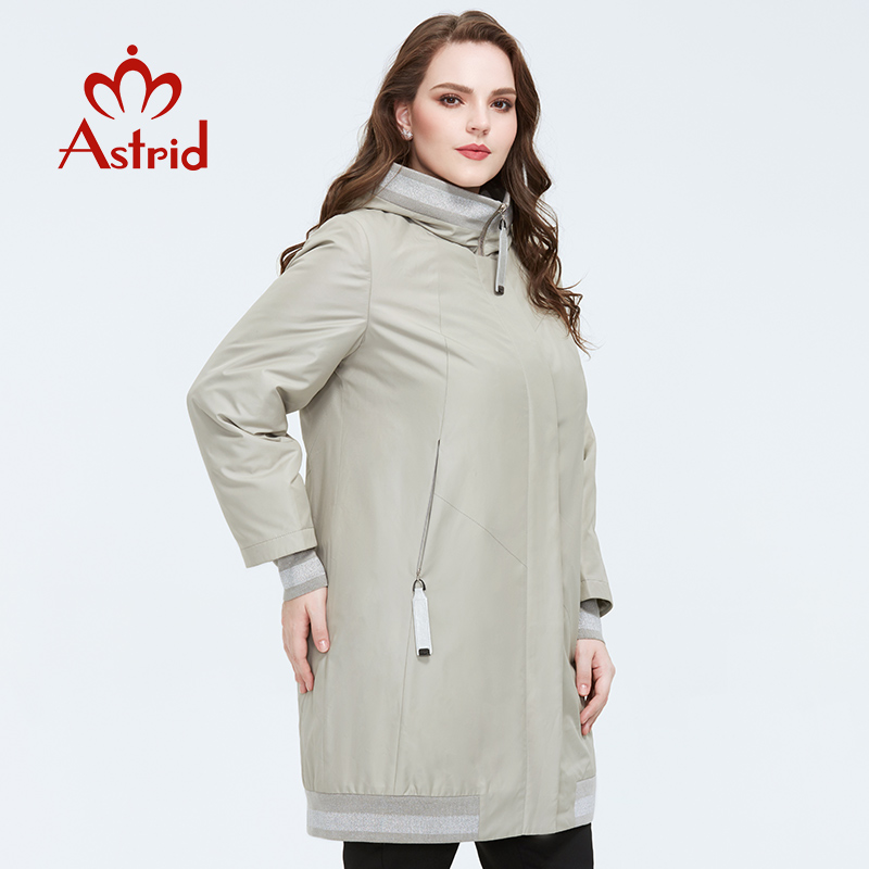 Astrid 2020 Spring New Arrival Coat Women  Warm Thin Cotton Loose Clothing Plus Size Long Coats   Zipper Female Jacket AM-9375
