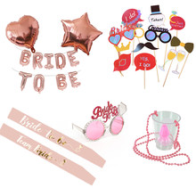 Bachelorette Party Bride to be Supplies Prop Set Kit Champagn Pink Sash Balloons Banner Headband Veil Hen Do Night Bridal Shower(China)