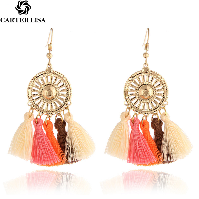 CARTER LISA 2019 Hot Sale 3 Color Tassel Earrings Women's Jewelry  Bohemian Style Earrings Ethnic  Gold Round HLE0147000