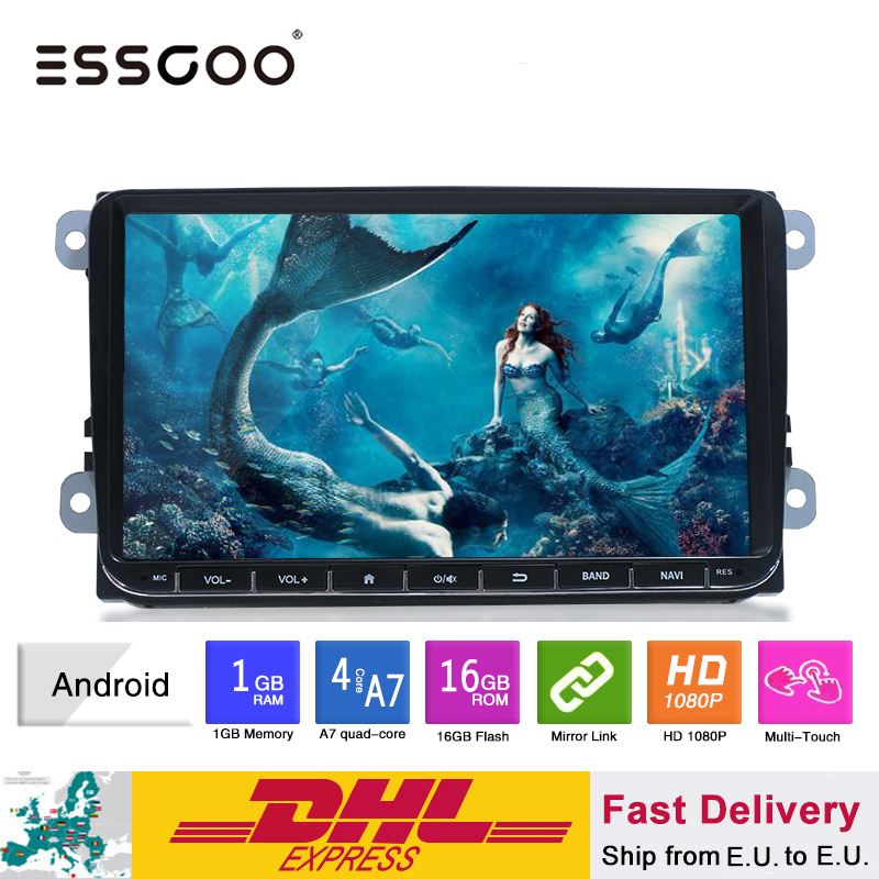 Essgoo android 9 player player carro multimídia jogador gps navegação 1 din autoradio 1din estéreo de vídeo mp5 rádio do carro para volkswagen universal