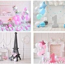 Один год День рождения фон торт smash фон фотостудия фотосъемка розовый воздушный шар детский портрет 1-я девочка домашний Декор ткань