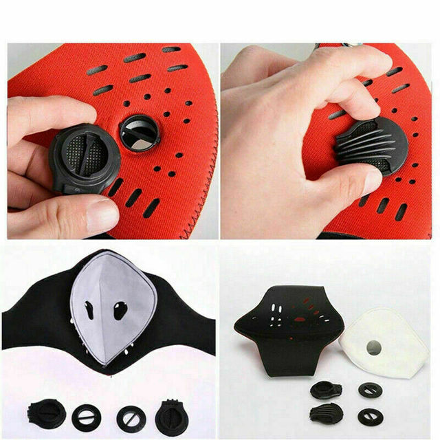 1 pc Breathable Air Purifying Face Mask Washable Black Health  Mask with pads for Outdoor Running Cycling 4