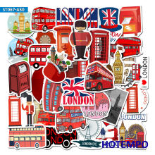 50pcs Red London Cultural Landmark Travel Style Cartoon Decal Stickers Pack for KIds DIY Stationery Phone Laptop Luggage Sticker