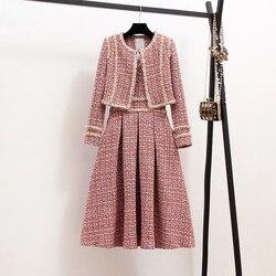 New 2019 Autumn High Quality Women 2 Piece Set Tweed Short Jacket Coat+Beading Vest Dress Elegant Fashion Party Dresses 2 Sets