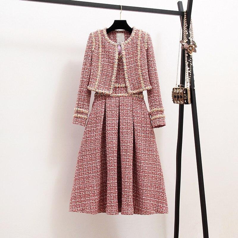 Nouveau 2019 automne haute qualité femmes 2 pièce ensemble Tweed court veste manteau + perles gilet robe élégante mode fête robes 2 ensembles