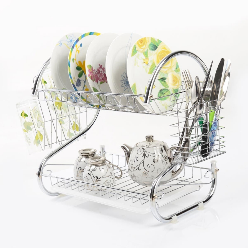 S-shaped Kitchen Dish Cup Drying Rack Holder 2-Tier Dish Dryer Bowl Rack Sink Drainer Kitchen Storage Organizer - US Stock