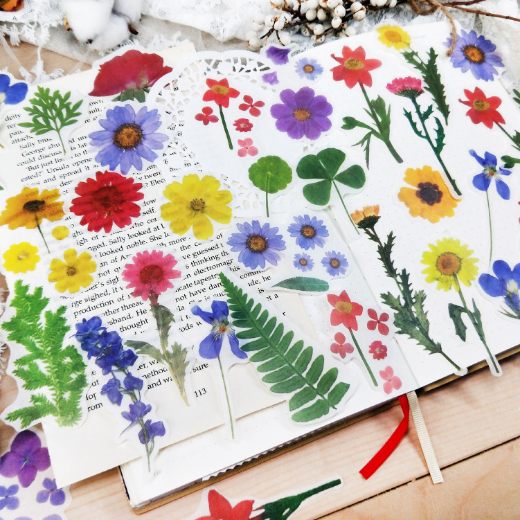 40 Pcs/pack Fresh Spring Blooming Flowers Washi Stickers Bag Decorative Scrapbooking Bullet Journal Sticker Diy School Office
